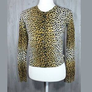 Dolce & Gabbana Leopard Cashmere Button Cardigan,